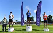 27 June 2021; Padraig Griffin, left, with Men's 110m Hurdles medallists, from left, Matthew Behan of Crusaders AC, Dublin, silver, Gerard O'Donnell of Carrick-on-Shannon AC, Leitrim, gold, and Iarlaith Golding of St Colmans South Mayo AC, bronze, during day three of the Irish Life Health National Senior Championships at Morton Stadium in Santry, Dublin. Photo by Sam Barnes/Sportsfile