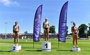 27 June 2021; Women's 100m medallists, from left, Kate Doherty, Dundrum South Dublin AC, silver, Sarah Lavin of Emerald AC, Limerick, gold, and Lilly-Ann O'Hora of Dooneen AC, Limerick, bronze, during day three of the Irish Life Health National Senior Championships at Morton Stadium in Santry, Dublin. Photo by Sam Barnes/Sportsfile
