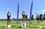 27 June 2021;  Women's 200m medallists, from left, Rhasidat Adeleke of Tallaght AC, Dublin, silver, Phil Healy of Bandon AC, Cork, gold, and Catherine Mcmanus of Dublin City Harriers AC, Dublin, during day three of the Irish Life Health National Senior Championships at Morton Stadium in Santry, Dublin. Photo by Sam Barnes/Sportsfile