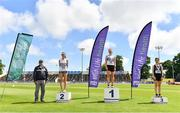 27 June 2021; Athletics Ireland Competition Committee member Paddy Marley, left, with Women's 5000m Walk medallists, from left, Niamh O'Connor of Celbridge AC, Kildare, Kate Veale of West Waterford AC, gold, and Veronica Burke of Ballinasloe and District AC, Galway, bronze,  during day three of the Irish Life Health National Senior Championships at Morton Stadium in Santry, Dublin. Photo by Sam Barnes/Sportsfile
