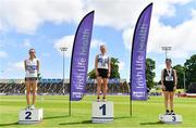 27 June 2021;  Women's 5000m Walk medallists, from left, Niamh O'Connor of Celbridge AC, Kildare, Kate Veale of West Waterford AC, gold, and Veronica Burke of Ballinasloe and District AC, Galway, bronze,  during day three of the Irish Life Health National Senior Championships at Morton Stadium in Santry, Dublin. Photo by Sam Barnes/Sportsfile