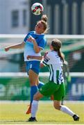 27 June 2021; Emma Barrett of Peamount United in action against Molly Crowe of Bray Wanderers during the EA SPORTS Women's National U19 League match between Bray Wanderers and Peamount United at Carlisle Grounds in Bray, Wicklow. Photo by Michael P Ryan/Sportsfile