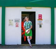 27 June 2021; Zoe Kelly of Bray Wanderers leads her team out for the start of the EA SPORTS Women's National U19 League match between Bray Wanderers and Peamount United at Carlisle Grounds in Bray, Wicklow. Photo by Michael P Ryan/Sportsfile