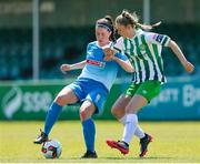 27 June 2021; Eve Conheady of Peamount United in action against Karyn Burke of Bray Wanderers during the EA SPORTS Women's National U19 League match between Bray Wanderers and Peamount United at Carlisle Grounds in Bray, Wicklow. Photo by Michael P Ryan/Sportsfile