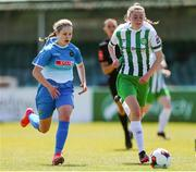 27 June 2021; Karyn Burke of Bray Wanderers in action against Tara O'Hanlon of Peamount United during the EA SPORTS Women's National U19 League match between Bray Wanderers and Peamount United at Carlisle Grounds in Bray, Wicklow. Photo by Michael P Ryan/Sportsfile