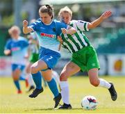 27 June 2021; Rachel McGrath of Peamount United in action against Annika Henry of Bray Wanderers during the EA SPORTS Women's National U19 League match between Bray Wanderers and Peamount United at Carlisle Grounds in Bray, Wicklow. Photo by Michael P Ryan/Sportsfile
