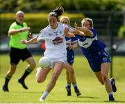 27 June 2021; Lara Curran of Kildare in action against Ellen Healy of Laois during the Lidl Ladies Football National League Division 3 Final match between Kildare and Laois at Baltinglass GAA Club in Baltinglass, Wicklow. Photo by Matt Browne/Sportsfile