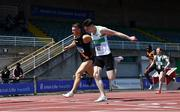 27 June 2021; Marcus Lawler of Clonliffe Harriers AC, Dublin, left, and Mark Smyth of Raheny Shamrock AC, Dublin competing in the Men's 200m during day three of the Irish Life Health National Senior Championships at Morton Stadium in Santry, Dublin. Photo by Sam Barnes/Sportsfile