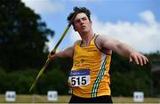 27 June 2021; Conor Cusack of Lake District Athletics competing in the Men's Javelin competing in the Men's Javelin during day three of the Irish Life Health National Senior Championships at Morton Stadium in Santry, Dublin. Photo by Sam Barnes/Sportsfile