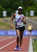 27 June 2021; Jerome Caprice of Dundrum South Dublin AC on his way to winning the Men's 10000m Walk during day three of the Irish Life Health National Senior Championships at Morton Stadium in Santry, Dublin. Photo by Sam Barnes/Sportsfile