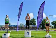 27 June 2021; Women's High Jump Medallists, from left, Aoife O'Sullivan of Liscarroll AC, Cork, silver, Philippa Rogan of Sli Cualann AC, Wicklow, gold, and Ciara Kennelly of Killarney Valley AC, Kerry, bronze, during day three of the Irish Life Health National Senior Championships at Morton Stadium in Santry, Dublin. Photo by Sam Barnes/Sportsfile