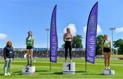27 June 2021; Athletics Ireland Deputy President & Chair of Coaching & Development Brid Golden, left, with Women's High Jump Medallists, from left, Aoife O'Sullivan of Liscarroll AC, Cork, silver, Philippa Rogan of Sli Cualann AC, Wicklow, gold, and Ciara Kennelly of Killarney Valley AC, Kerry, bronze, during day three of the Irish Life Health National Senior Championships at Morton Stadium in Santry, Dublin. Photo by Sam Barnes/Sportsfile