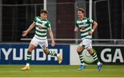 2 July 2021; Sean Gannon, left, of Shamrock Rovers celebrates after scoring his side's first goal, with team-mate Ronan Finn, during the SSE Airtricity League Premier Division match between Shamrock Rovers and Dundalk at Tallaght Stadium in Dublin. Photo by Stephen McCarthy/Sportsfile