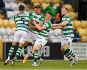 2 July 2021; Sean Gannon is congratulated by Shamrock Rovers team-mates, from left, Lee Grace, Gary O'Neill and Sean Hoare after scoring their side's first goal during the SSE Airtricity League Premier Division match between Shamrock Rovers and Dundalk at Tallaght Stadium in Dublin. Photo by Stephen McCarthy/Sportsfile