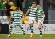 2 July 2021; Sean Gannon is congratulated by Shamrock Rovers team-mates Lee Grace, left, and Gary O'Neill after scoring their side's first goal during the SSE Airtricity League Premier Division match between Shamrock Rovers and Dundalk at Tallaght Stadium in Dublin. Photo by Stephen McCarthy/Sportsfile