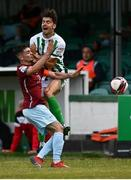 2 July 2021; Pierce Phillips of Cobh Ramblers in action against Richie O'Farrell of Bray Wanderers during the SSE Airtricity League First Division match between Bray Wanderers and Cobh Ramblers at Carlisle Grounds in Bray, Wicklow. Photo by Harry Murphy/Sportsfile