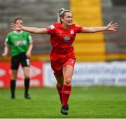 3 July 2021; Saoirse Noonan of Shelbourne celebrates after scoring her side's first goal during the SSE Airtricity Women's National League match between Shelbourne and Peamount United at Tolka Park in Dublin. Photo by Eóin Noonan/Sportsfile