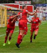 3 July 2021; Saoirse Noonan of Shelbourne celebrates with team-mates after scoring her side's first goal during the SSE Airtricity Women's National League match between Shelbourne and Peamount United at Tolka Park in Dublin. Photo by Eóin Noonan/Sportsfile