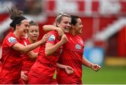 3 July 2021; Saoirse Noonan of Shelbourne celebrates with team-mates after scoring her side's second goal during the SSE Airtricity Women's National League match between Shelbourne and Peamount United at Tolka Park in Dublin. Photo by Eóin Noonan/Sportsfile