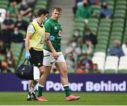 3 July 2021; Chris Farrell of Ireland leaves the pitch for a head injury assessment during the International Rugby Friendly match between Ireland and Japan at the Aviva Stadium in Dublin. Photo by Harry Murphy/Sportsfile