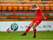 3 July 2021; Saoirse Noonan of Shelbourne shoots to score her side's second goal during the SSE Airtricity Women's National League match between Shelbourne and Peamount United at Tolka Park in Dublin. Photo by Eóin Noonan/Sportsfile
