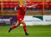 3 July 2021; Saoirse Noonan of Shelbourne celebrates after scoring her side's second goal during the SSE Airtricity Women's National League match between Shelbourne and Peamount United at Tolka Park in Dublin. Photo by Eóin Noonan/Sportsfile
