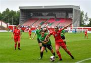 3 July 2021; Saoirse Noonan of Shelbourne in action against Lauryn O'Callaghan of Peamount United during the SSE Airtricity Women's National League match between Shelbourne and Peamount United at Tolka Park in Dublin. Photo by Eóin Noonan/Sportsfile
