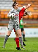 3 July 2021; Niamh Reid-Burke of Peamount United with Saoirse Noonan of Shelbourne during the SSE Airtricity Women's National League match between Shelbourne and Peamount United at Tolka Park in Dublin. Photo by Eóin Noonan/Sportsfile