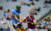 3 July 2021; Chris Crummey of Dublin shoots to score his side's first goal, despite pressure from Galway's Fintan Burke, during the Leinster GAA Hurling Senior Championship Semi-Final match between Dublin and Galway at Croke Park in Dublin. Photo by Seb Daly/Sportsfile