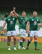 3 July 2021; Debutant Gavin Coombes of Ireland, centre, and team-mates Finlay Bealham and John Ryan after the International Rugby Friendly match between Ireland and Japan at Aviva Stadium in Dublin. Photo by Brendan Moran/Sportsfile