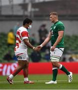 3 July 2021; Gavin Coombes of Ireland and Tevita Tatafu of Japan shake hands following the International Rugby Friendly match between Ireland and Japan at Aviva Stadium in Dublin. Photo by David Fitzgerald/Sportsfile