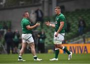 3 July 2021; Dave Kilcoyne of Ireland, left, and Gavin Coombes celebrate following the International Rugby Friendly match between Ireland and Japan at Aviva Stadium in Dublin. Photo by David Fitzgerald/Sportsfile