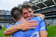 3 July 2021; Dublin players Chris Crummey, behind, and James Madden celebrate after their side's victory in the Leinster GAA Hurling Senior Championship Semi-Final match between Dublin and Galway at Croke Park in Dublin. Photo by Piaras Ó Mídheach/Sportsfile
