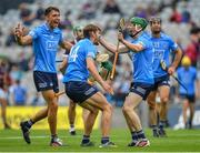 3 July 2021; Dublin players, from left, Chris Crummey, Ronan Hayes and Fergal Whitely celebrate after their side's victory over Galway in their Leinster GAA Hurling Senior Championship Semi-Final match at Croke Park in Dublin. Photo by Seb Daly/Sportsfile