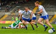 3 July 2021; Jack McCarron of Monaghan, centre, celebrates after scoring his side's first goal during the Ulster GAA Football Senior Championship Quarter-Final match between Monaghan and Fermanagh at St Tiernach's Park in Clones, Monaghan. Photo by Sam Barnes/Sportsfile