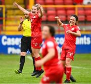 3 July 2021; Saoirse Noonan of Shelbourne and team-mate Emily Whelan celebrate at the final whistle during the SSE Airtricity Women's National League match between Shelbourne and Peamount United at Tolka Park in Dublin. Photo by Eóin Noonan/Sportsfile