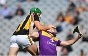 3 July 2021; Eoin Cody of Kilkenny tussles with Kevin Foley of Wexford during the Leinster GAA Hurling Senior Championship Semi-Final match between Kilkenny and Wexford at Croke Park in Dublin. Photo by Seb Daly/Sportsfile