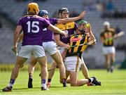 3 July 2021; Alan Murphy of Kilkenny is tackled by Wexford players, from left, Kevin Foley, Shane Reck, and Diarmuid O'Keeffe during the Leinster GAA Hurling Senior Championship Semi-Final match between Kilkenny and Wexford at Croke Park in Dublin. Photo by Piaras Ó Mídheach/Sportsfile