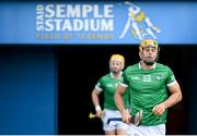 3 July 2021; Dan Morrissey of Limerick runs out before the Munster GAA Hurling Senior Championship Semi-Final match between Cork and Limerick at Semple Stadium in Thurles, Tipperary. Photo by Stephen McCarthy/Sportsfile