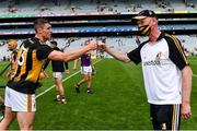 3 July 2021; Kilkenny manager Brian Cody celebrates with Huw Lawlor after their side's victory in the Leinster GAA Hurling Senior Championship Semi-Final match between Kilkenny and Wexford at Croke Park in Dublin. Photo by Piaras Ó Mídheach/Sportsfile