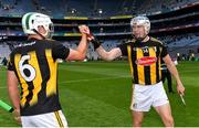 3 July 2021; Kilkenny players TJ Reid, right, and Pádraig Walsh celebrate after their side's victory in the Leinster GAA Hurling Senior Championship Semi-Final match between Kilkenny and Wexford at Croke Park in Dublin. Photo by Piaras Ó Mídheach/Sportsfile