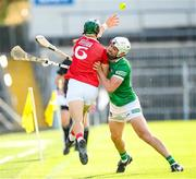 3 July 2021; Aaron Gillane of Limerick in action against Mark Coleman of Cork during the Munster GAA Hurling Senior Championship Semi-Final match between Cork and Limerick at Semple Stadium in Thurles, Tipperary. Photo by Stephen McCarthy/Sportsfile