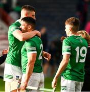 3 July 2021; Gearoid Hegarty, left, Seán Finn, 2, and Aaron Costello of Limerick celebrate after the Munster GAA Hurling Senior Championship Semi-Final match between Cork and Limerick at Semple Stadium in Thurles, Tipperary. Photo by Ray McManus/Sportsfile