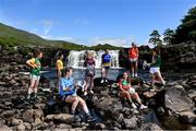 7 July 2021; At the Aasleagh Falls in Mayo for the LGFA TG4 Championship Launch are, from left, from left, Aishling O'Connell of Kerry, Gráinne McLoughlin of Antrim, Lyndsey Davey of Dublin, Fiona Claffey of Westmeath, Sinéad Kenny of Roscommon, Niamh Kelly of Mayo, Blaithín Mackin of Armagh and Niamh McCarthy of Limerick. The 2021 TG4 All-Ireland Ladies Football Championships get underway this Friday, July 9, with the meeting of Galway and Kerry (Live on TG4) and will conclude at Croke Park on Sunday, September 5, when the winners of the Junior, Intermediate & Senior Championships will be revealed. 13 Championship games will be broadcast exclusively live by TG4 throughout the season, with the remaining 50 games available to view on the LGFA and TG4's dedicated online platform: page.inplayer.com/peilnamban #ProperFan. Photo by Brendan Moran/Sportsfile