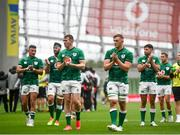 3 July 2021; Ireland players including Chris Farrell and Gavin Coombes, centre, applaud the supporter after the International Rugby Friendly match between Ireland and Japan at Aviva Stadium in Dublin. Photo by David Fitzgerald/Sportsfile