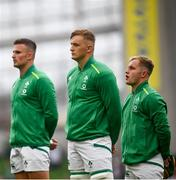 3 July 2021; Ireland players, from right, Craig Casey, Gavin Coombes and Shane Daly prior to the International Rugby Friendly match between Ireland and Japan at Aviva Stadium in Dublin. Photo by David Fitzgerald/Sportsfile