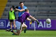 4 July 2021; Con O'Callaghan of Dublin has a shot on goal blocked by Michael Furlong of Wexford during the Leinster GAA Football Senior Championship Quarter-Final match between Wexford and Dublin at Chadwicks Wexford Park in Wexford. Photo by Brendan Moran/Sportsfile
