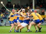 4 July 2021; Jason Forde of Tipperary in action against Clare players, from left, Paul Flanagan, Conor Cleary, Diarmuid Ryan and John Conlon during the Munster GAA Hurling Senior Championship Semi-Final match between Tipperary and Clare at LIT Gaelic Grounds in Limerick. Photo by Stephen McCarthy/Sportsfile