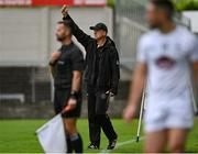 4 July 2021; Offaly manager John Maughan signals to referee Martin McNally before Jimmy Hyland of Kildare was shown a black card during the Leinster GAA Football Senior Championship Quarter-Final match between Kildare and Offaly at MW Hire O'Moore Park in Portlaoise, Laois. Photo by Piaras Ó Mídheach/Sportsfile