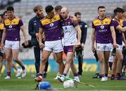 3 July 2021; Wexford players Lee Chin, left, and Mark Fanning after their side's defeat in the Leinster GAA Hurling Senior Championship Semi-Final match between Kilkenny and Wexford at Croke Park in Dublin. Photo by Piaras Ó Mídheach/Sportsfile